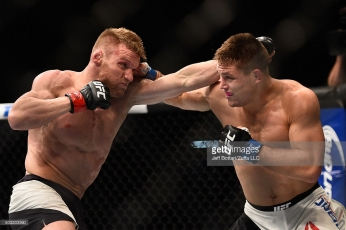 in their lightweight bout during the UFC 195 event inside MGM Grand Garden Arena on January 2, 2016 in Las Vegas, Nevada.