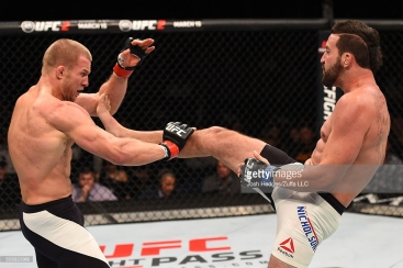 in their light heavyweight bout during the UFC Fight Night event at MGM Grand Garden Arena on February 6, 2016 in Las Vegas, Nevada.