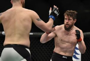 April 10, 2016; Zagreb, Croatia; Nicolas Dalby fights against Zak Cummings during UFC Fight Night at Zagreb Arena. Mandatory Credit: Per Haljestam-USA TODAY Sports
